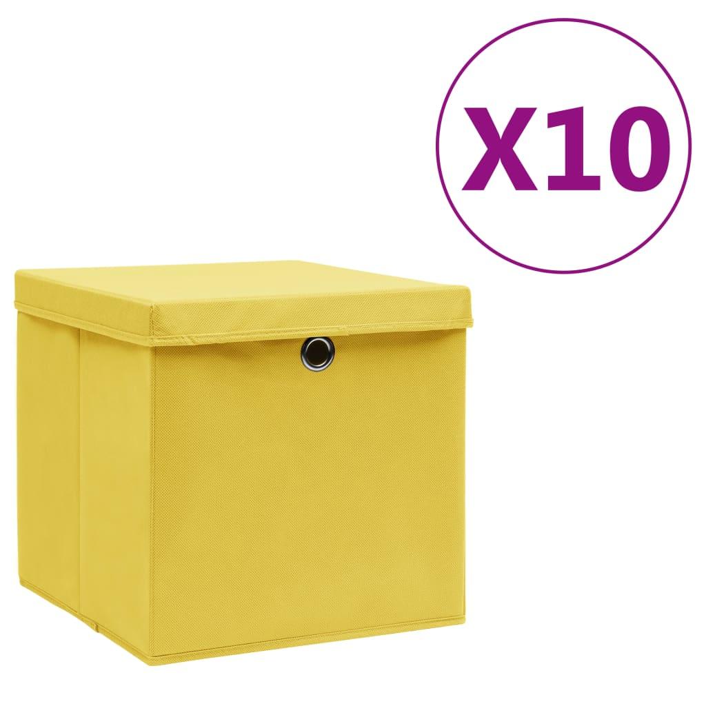 vidaXL Úložné boxy s vekom 10 ks, 28x28x28 cm, žlté