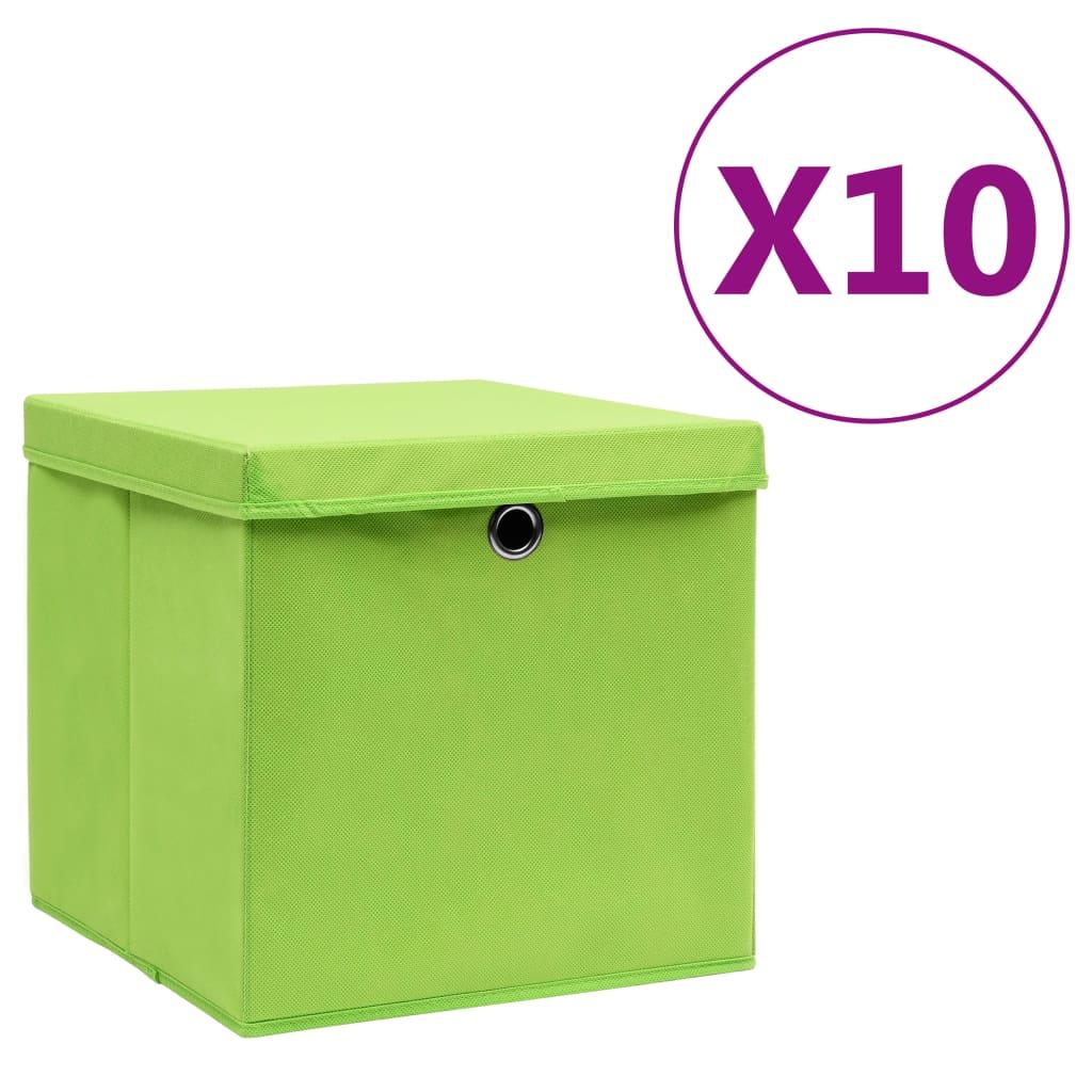 vidaXL Úložné boxy s vekom 10 ks, 28x28x28 cm, zelené