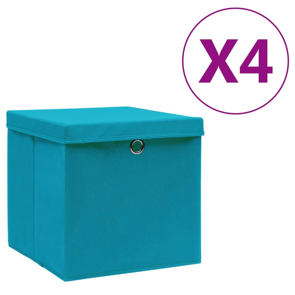 vidaXL Úložné boxy s vekom 4 ks, 28x28x28 cm, svetlomodré