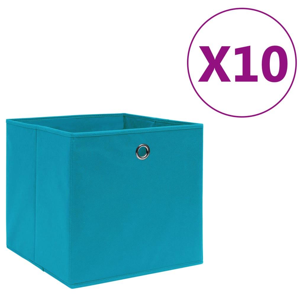 vidaXL Úložné boxy 10 ks, netkaná textília 28x28x28 cm, svetlomodré
