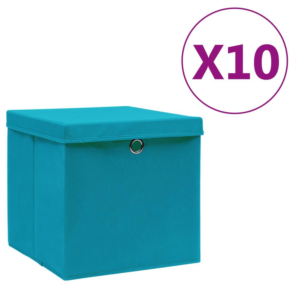 vidaXL Úložné boxy s vekom 10 ks, 28x28x28 cm, svetlomodré