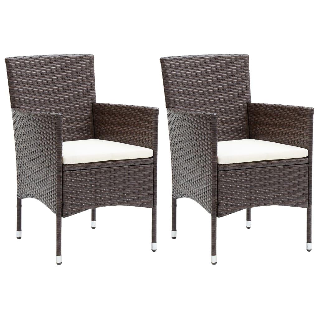 vidaXL Záhradné jedálenské stoličky 2 ks polyratanové hnedé
