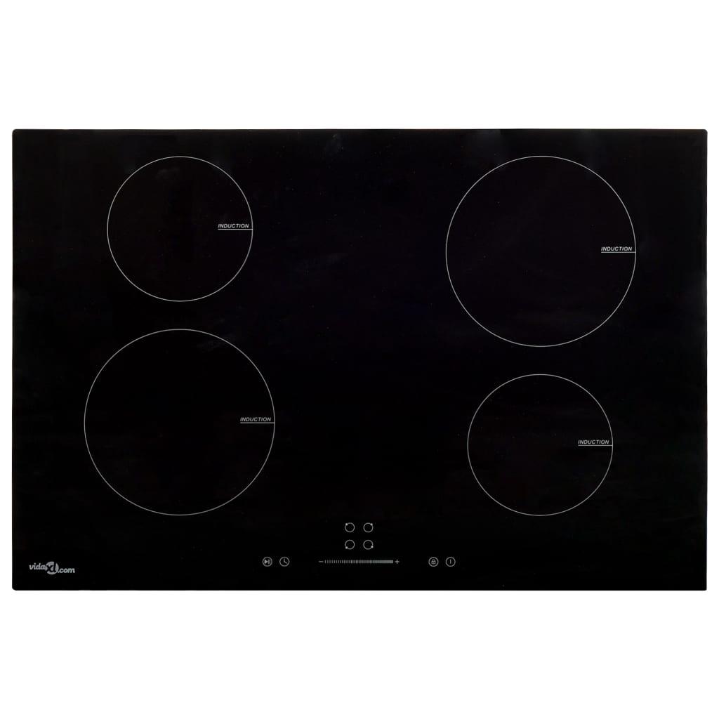 vidaXL Indukčná doska so 4 platničkami dotykové ovládanie sklo 77 cm 7000 W