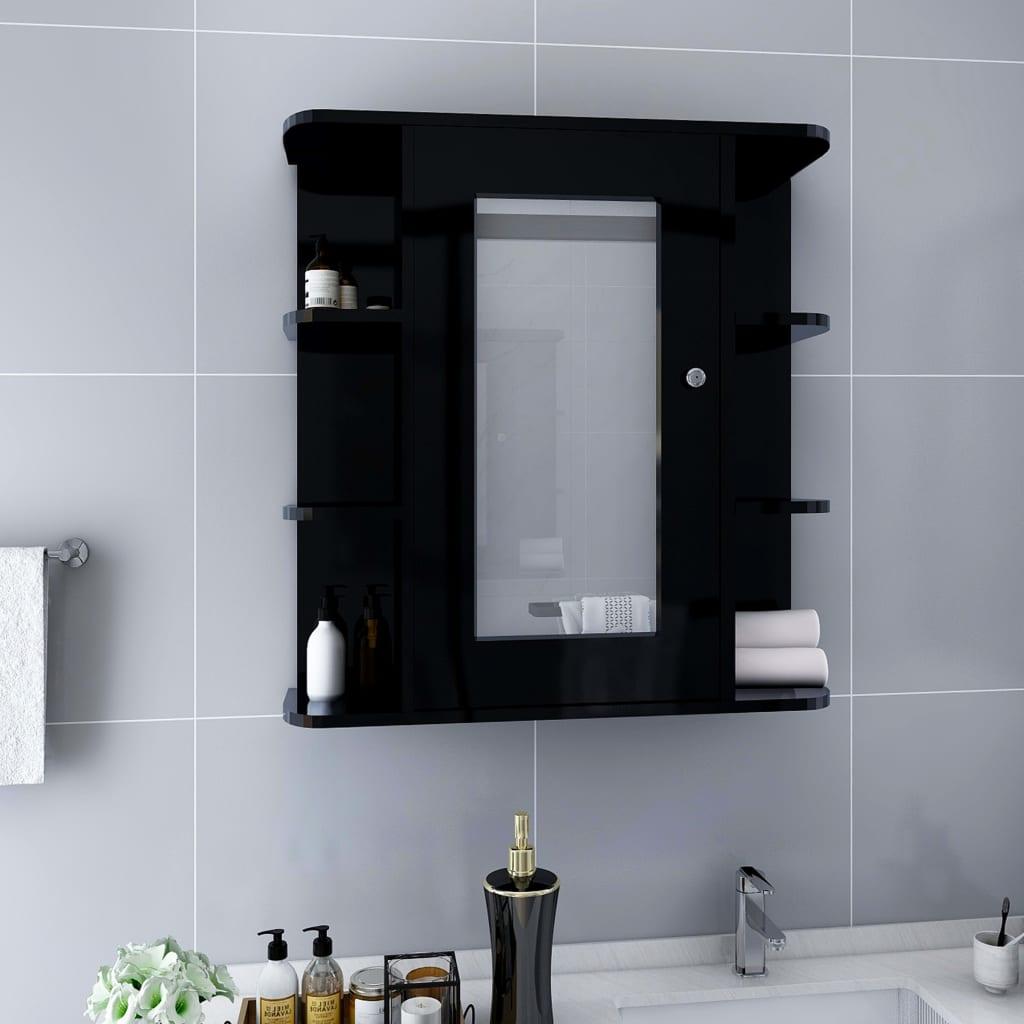 vidaXL Kúpeľňová skrinka so zrkadlom, čierna 66x17x63 cm, MDF