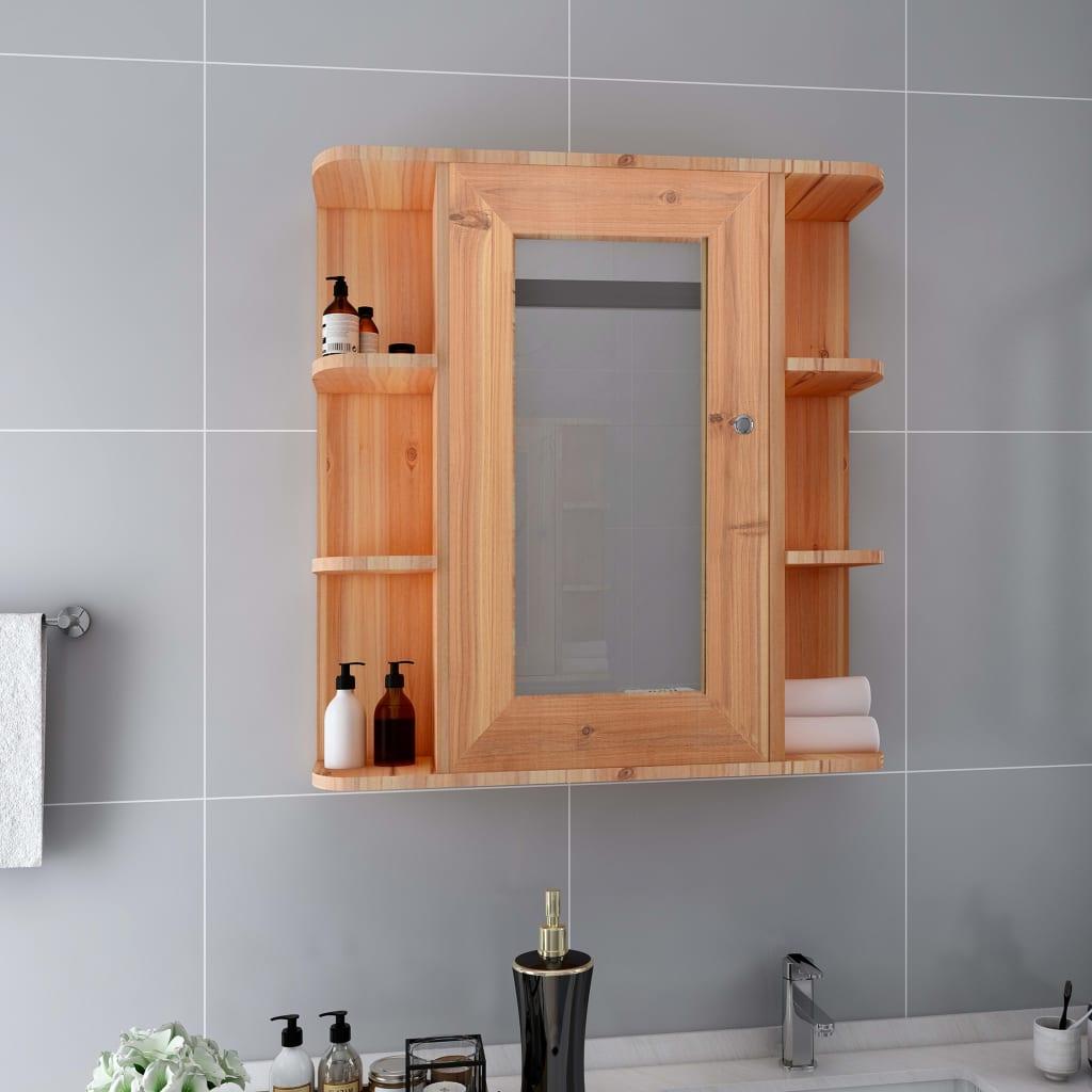 vidaXL Kúpeľňová skrinka so zrkadlom, dub 66x17x63 cm, MDF