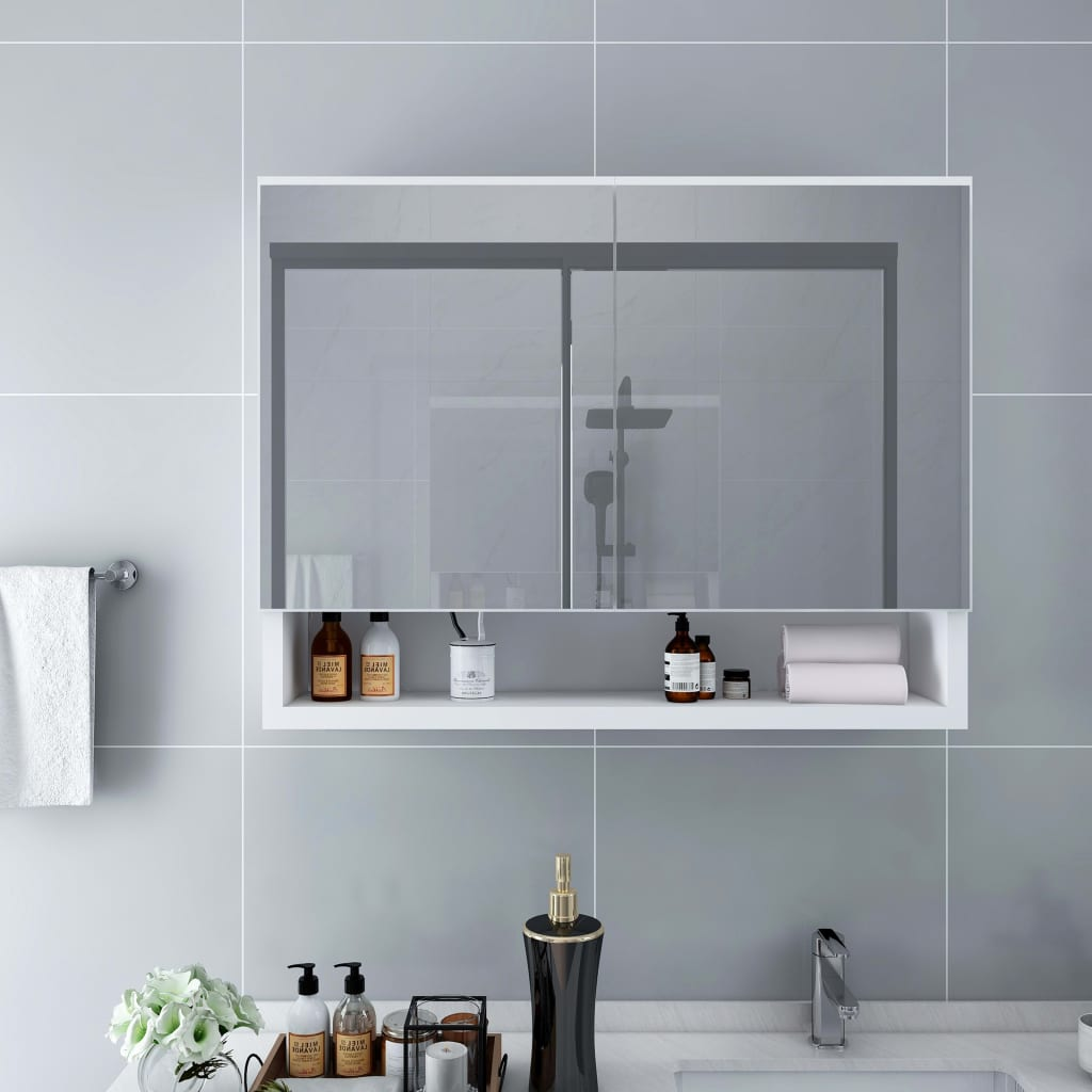 vidaXL LED kúpeľňová zrkadlová skrinka biela 80x15x60 cm MDF