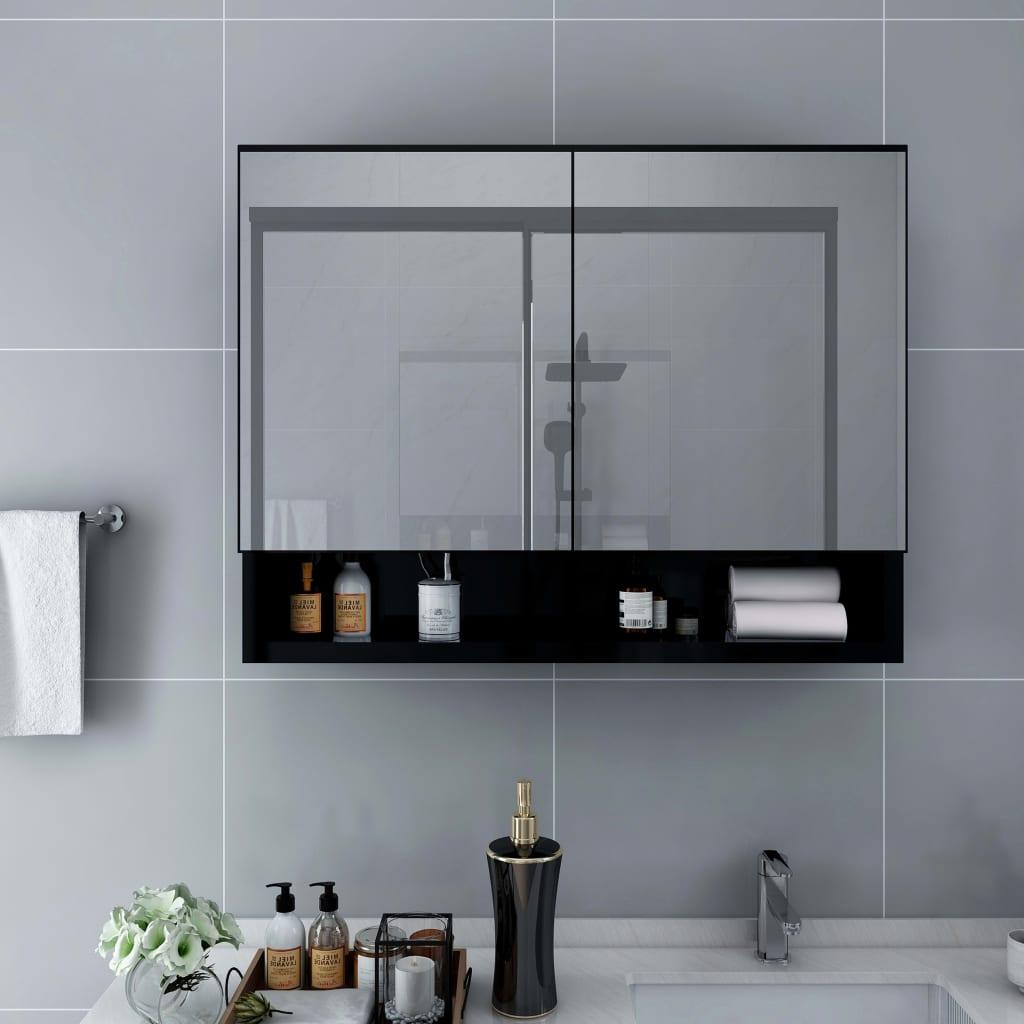 vidaXL LED kúpeľňová zrkadlová skrinka čierna 80x15x60 cm MDF