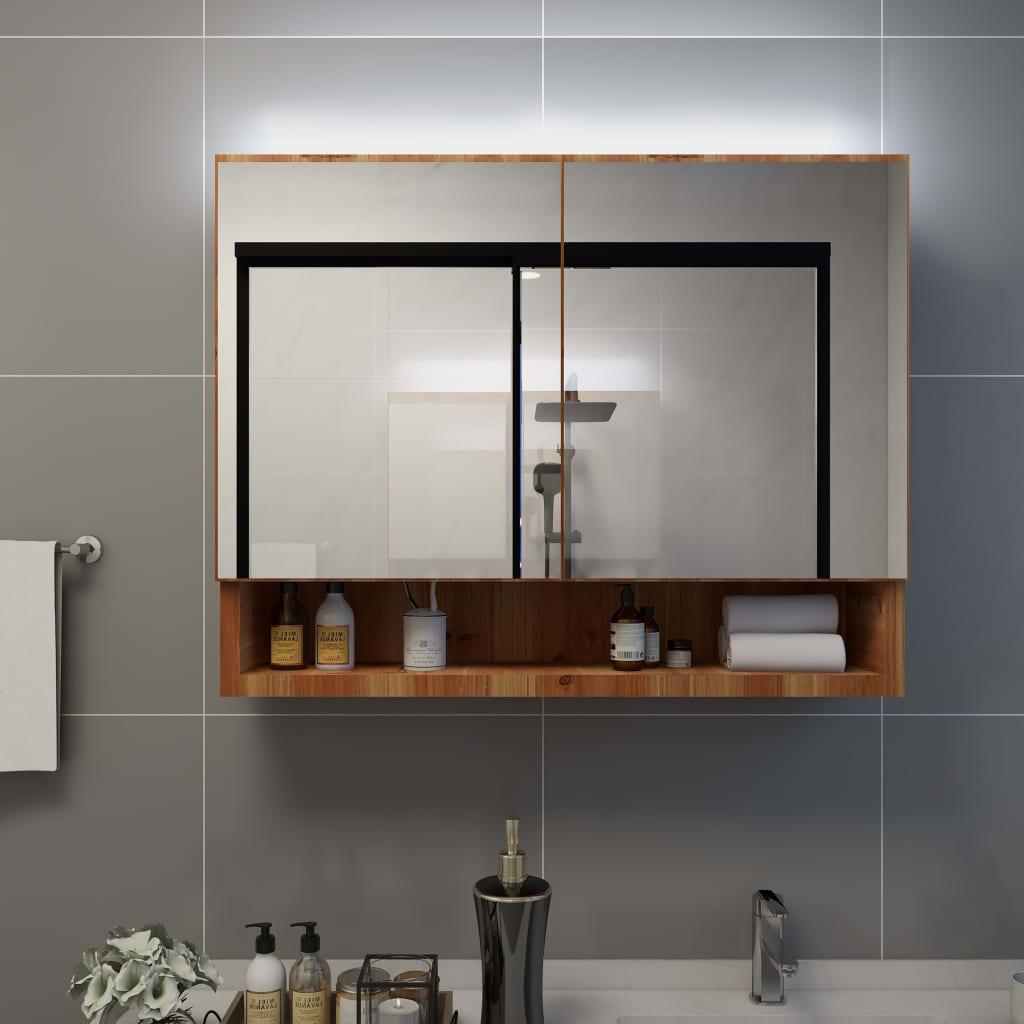 vidaXL LED kúpeľňová zrkadlová skrinka dubová 80x15x60 cm MDF