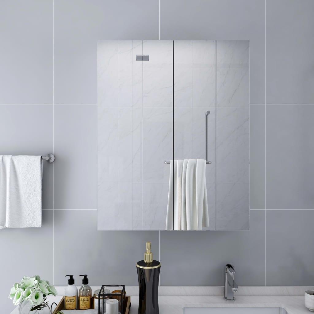 vidaXL Kúpeľňová skrinka so zrkadlom, biela 60x15x75 cm, MDF