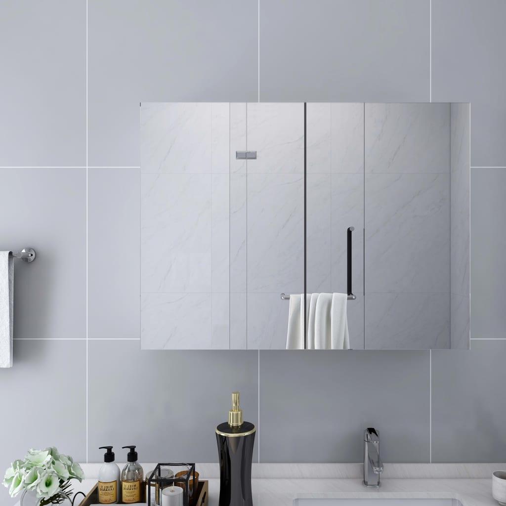vidaXL Kúpeľňová skrinka so zrkadlom, biela 80x15x60 cm, MDF