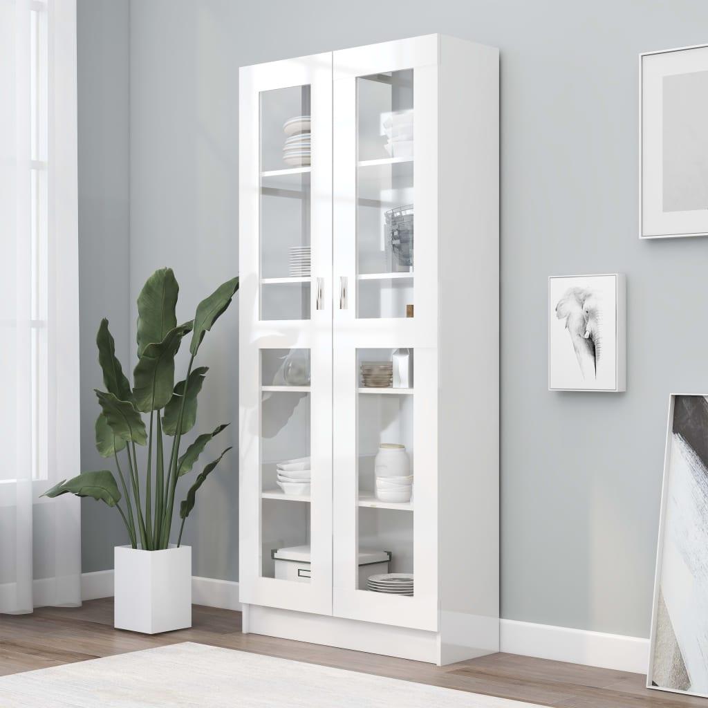 vidaXL Vitrína, lesklá biela 82,5x30,5x185,5 cm, drevotrieska