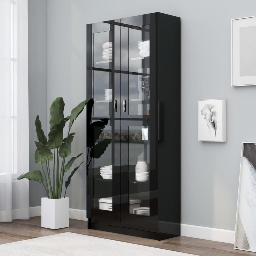vidaXL Vitrína, lesklá čierna 82,5x30,5x185,5 cm, drevotrieska