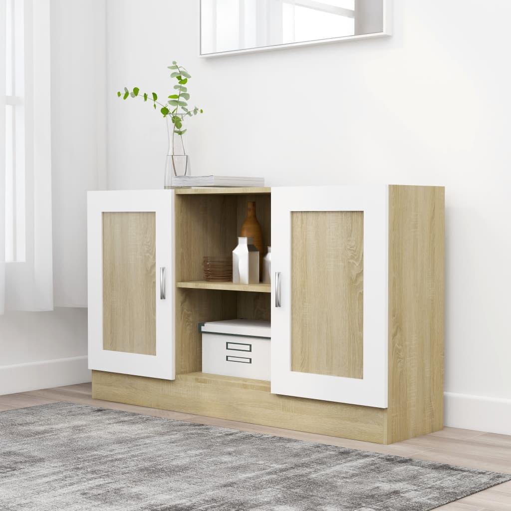 vidaXL Komoda, biela a dub sonoma 120x30,5x70 cm, drevotrieska