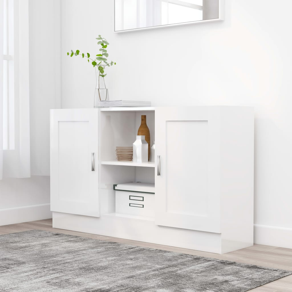 vidaXL Komoda, lesklá biela 120x30,5x70 cm, drevotrieska