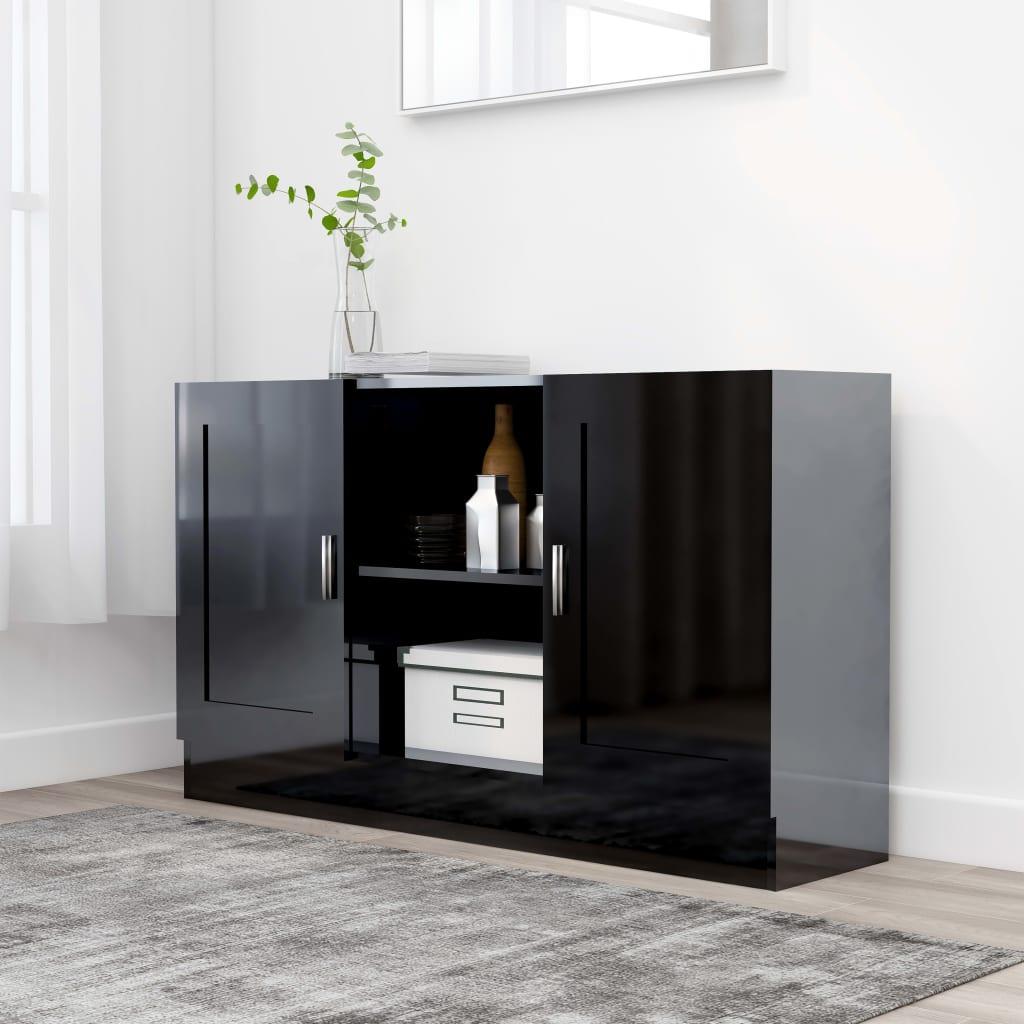 vidaXL Komoda, lesklá čierna 120x30,5x70 cm, drevotrieska