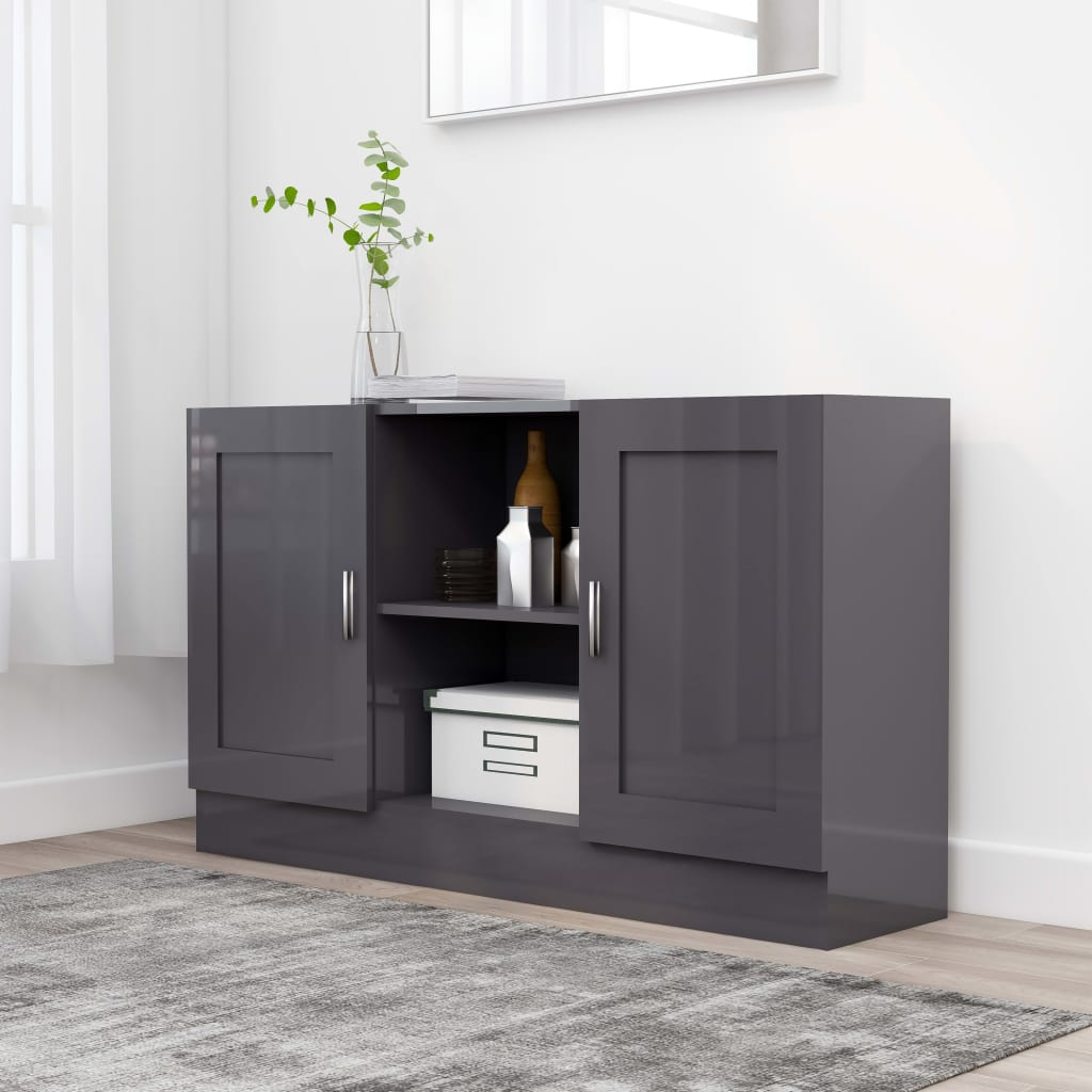 vidaXL Komoda, lesklá sivá 120x30,5x70 cm, drevotrieska
