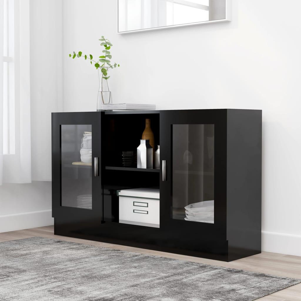 vidaXL Vitrína, čierna 120x30,5x70 cm, drevotrieska
