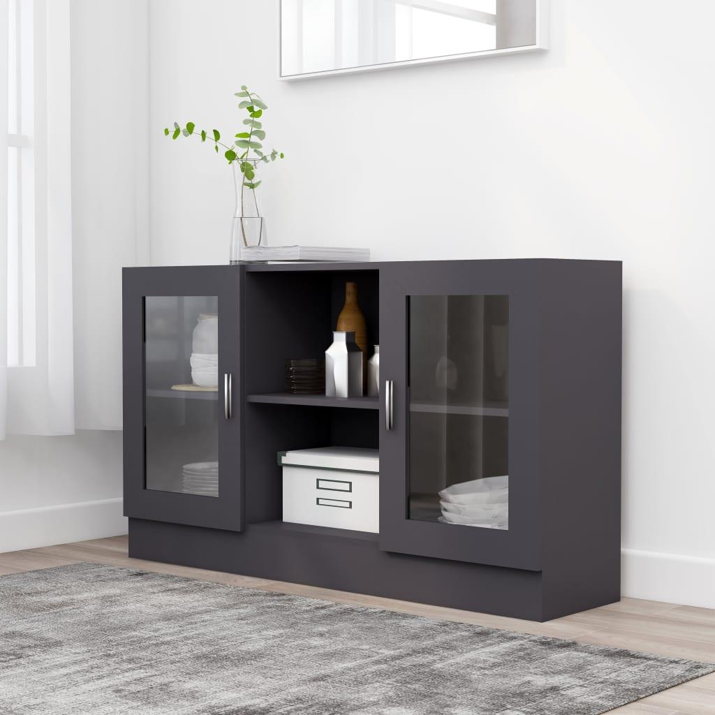 vidaXL Vitrína, sivá 120x30,5x70 cm, drevotrieska