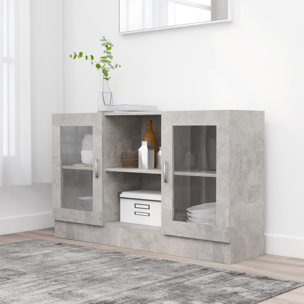 vidaXL Vitrína, betónovo sivá 120x30,5x70 cm, drevotrieska