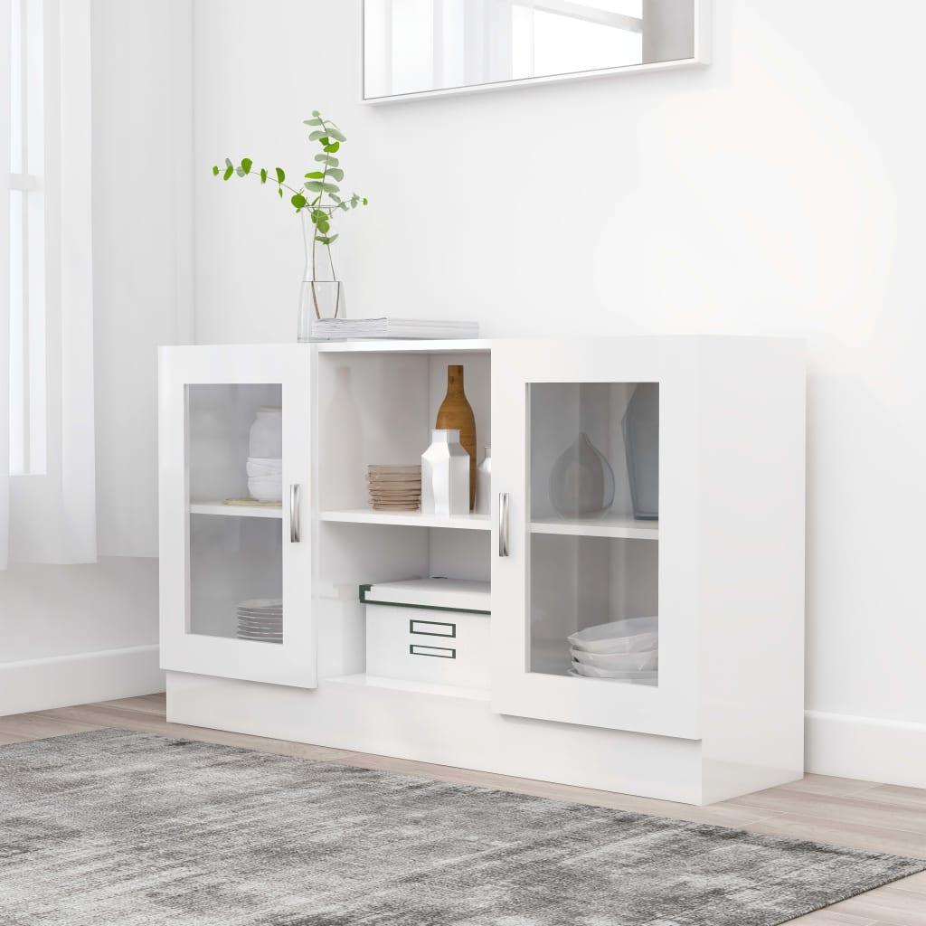vidaXL Vitrína, lesklá biela 120x30,5x70 cm, drevotrieska