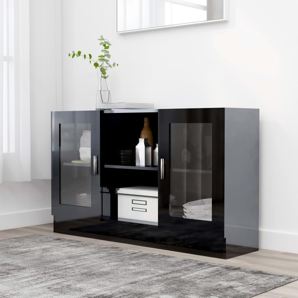 vidaXL Vitrína, lesklá čierna 120x30,5x70 cm, drevotrieska