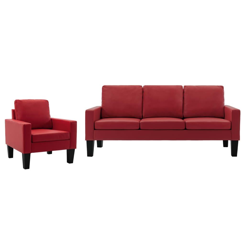 vidaXL 2-dielna súprava pohoviek, červená, umelá koža