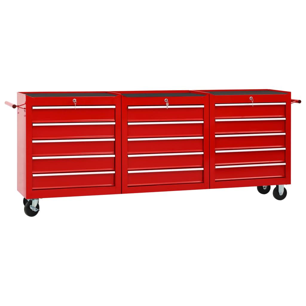 vidaXL Dielenský vozík s 15 zásuvkami červený oceľový