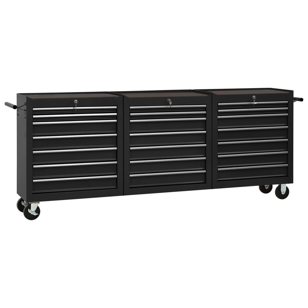 vidaXL Dielenský vozík s 21 zásuvkami čierny oceľový