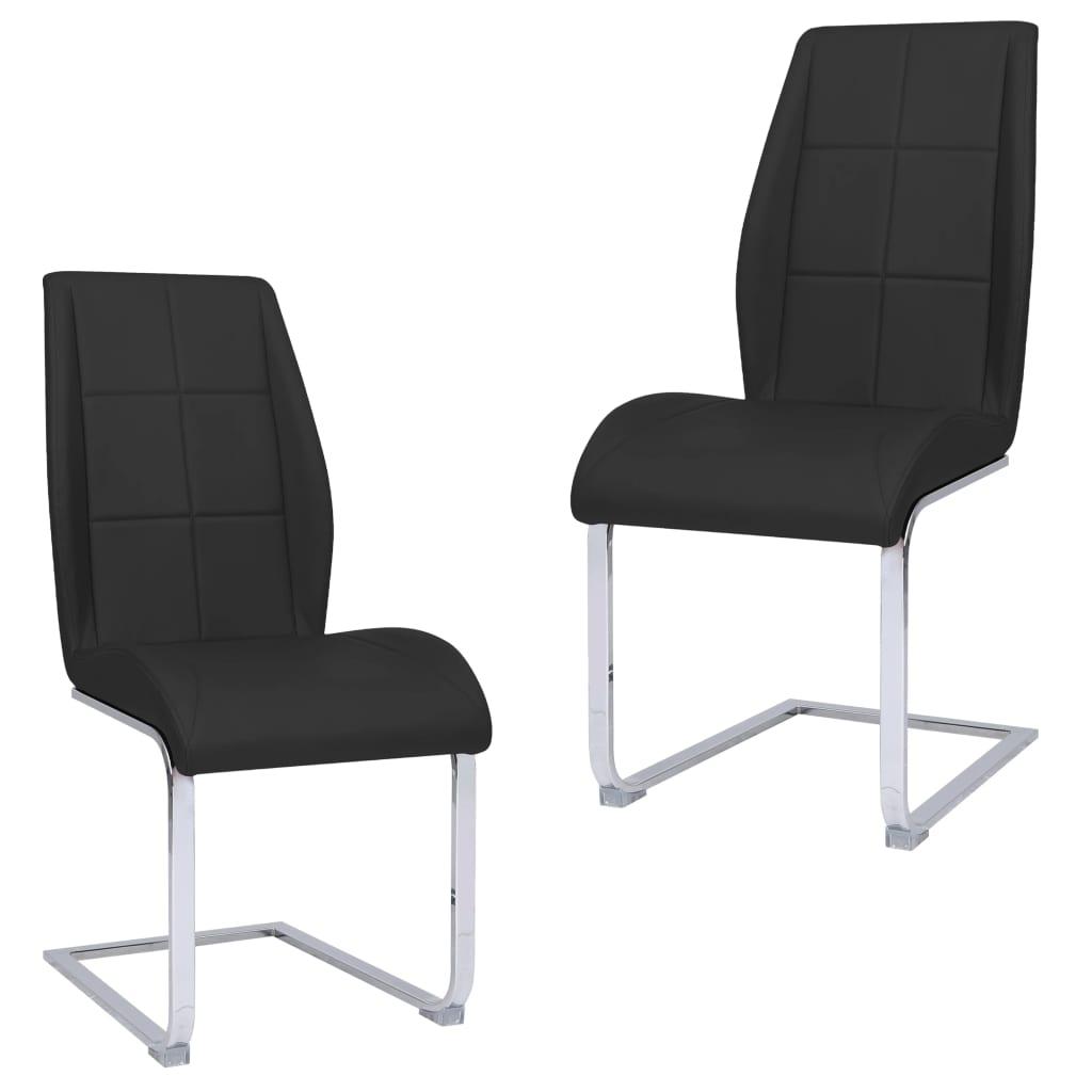 vidaXL Jedálenské stoličky, perová kostra 2 ks, čierne, látka