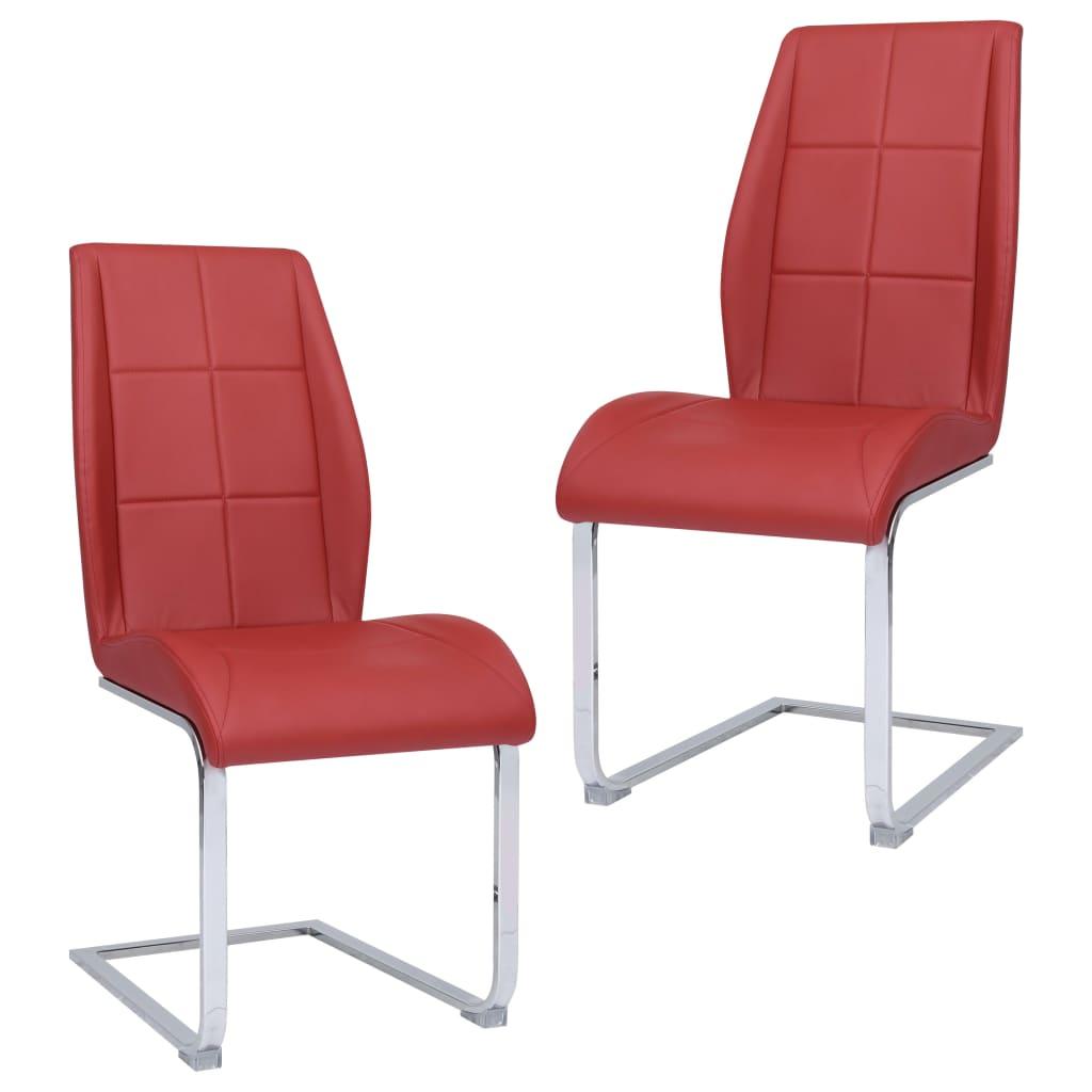 vidaXL Jedálenské stoličky, perová kostra 2 ks, červené, látka