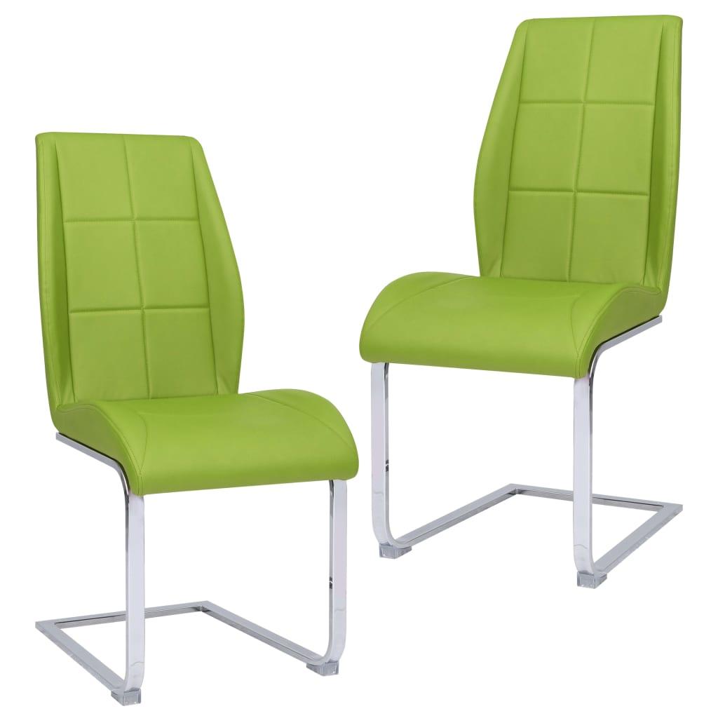 vidaXL Jedálenské stoličky, perová kostra 2 ks, zelené, látka