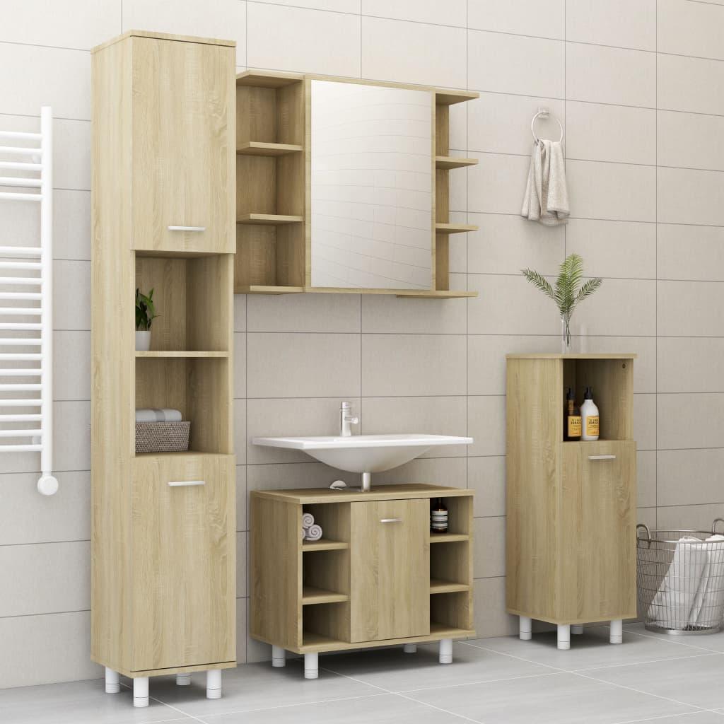 vidaXL 3-dielna súprava kúpeľňového nábytku, dub sonoma, drevotrieska