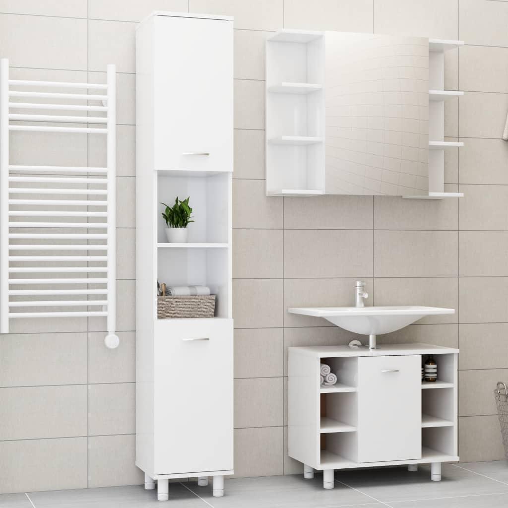 vidaXL 3-dielna súprava kúpeľňového nábytku,lesklá biela, drevotrieska
