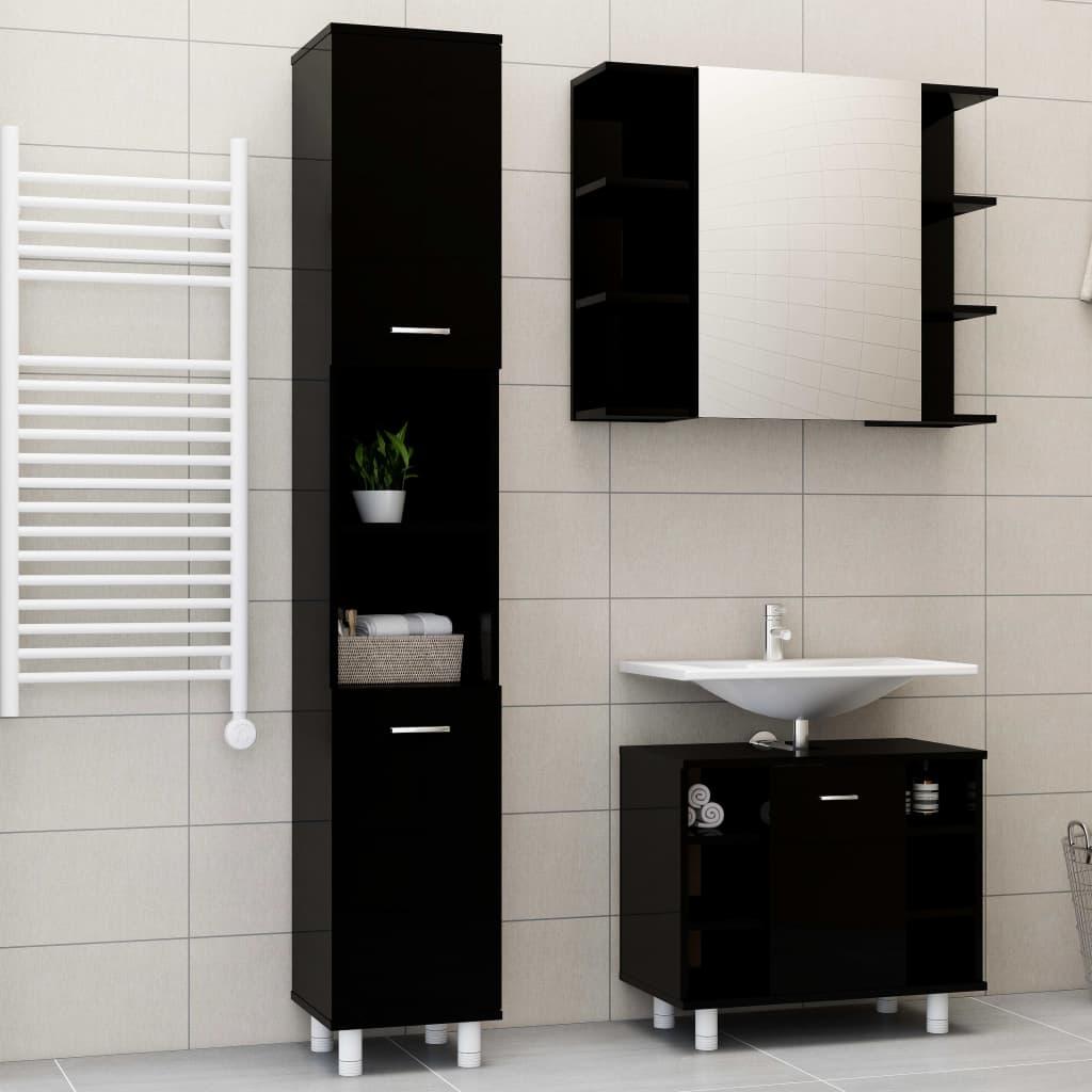 vidaXL 3-dielna súprava kúpeľňového nábytku,lesklá čierna,drevotrieska