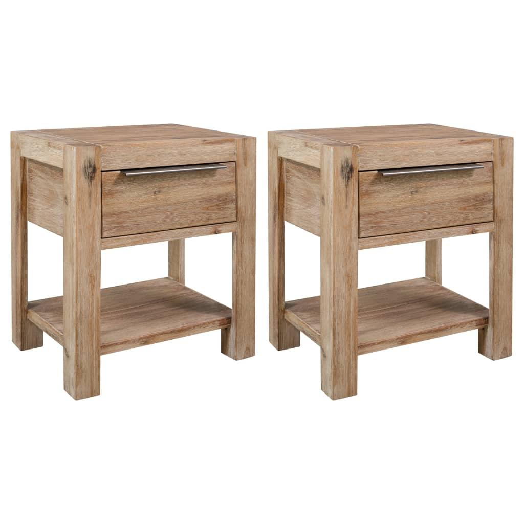 vidaXL Nočné stolíky so zásuvkami 2ks 40x30x48 cm masívne akáciové drevo