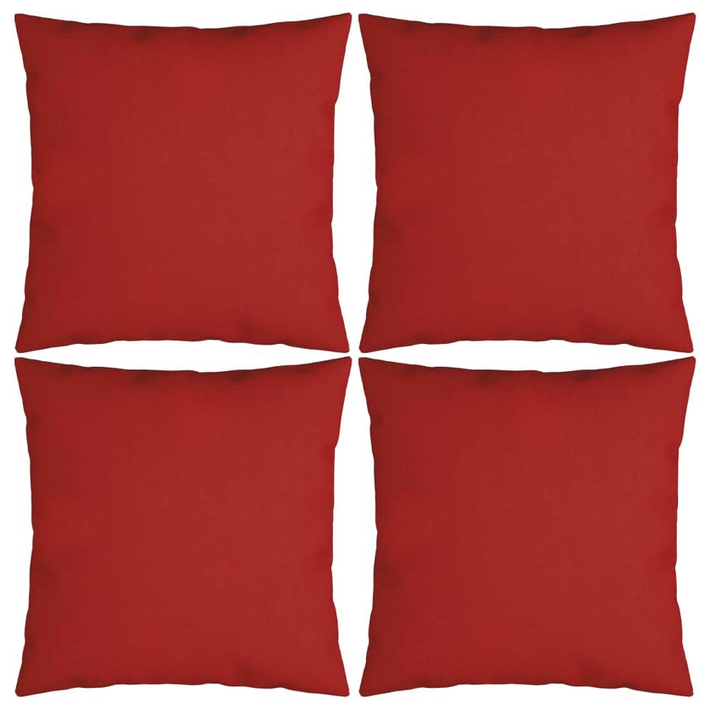 vidaXL Dekoratívne vankúše 4 ks, červené 60x60 cm, látka