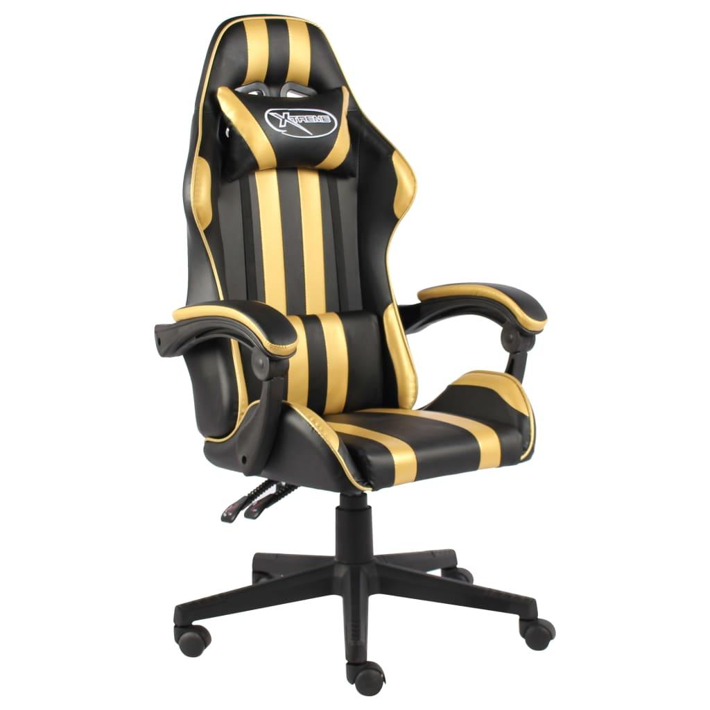 vidaXL Herná stolička čierna a zlatá umelá koža