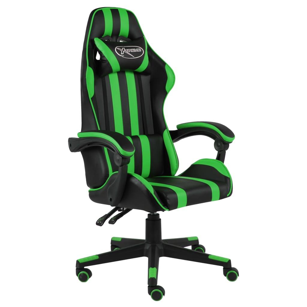 vidaXL Herná stolička čierna a zelená umelá koža