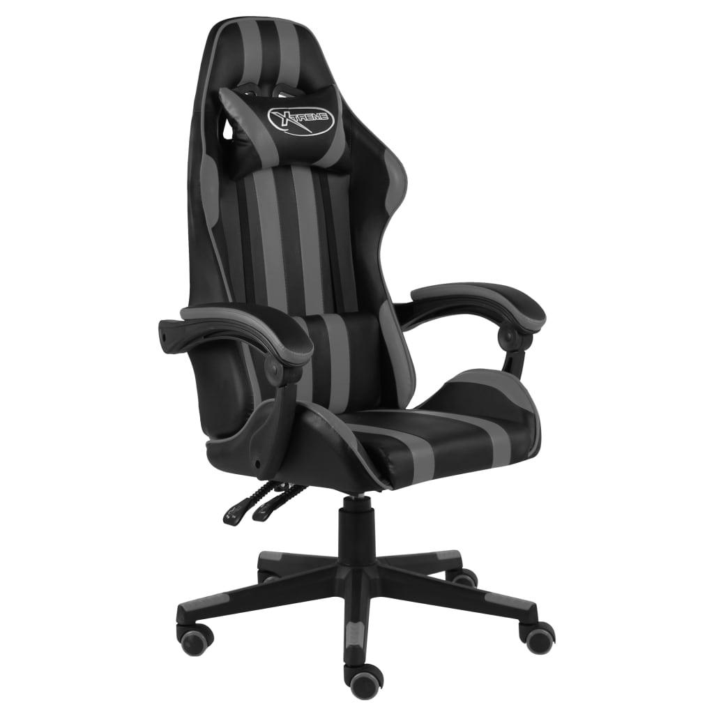 vidaXL Herná stolička čierna a sivá umelá koža