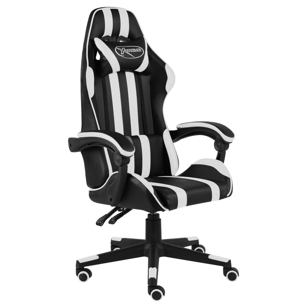 vidaXL Herná stolička čierna a biela umelá koža