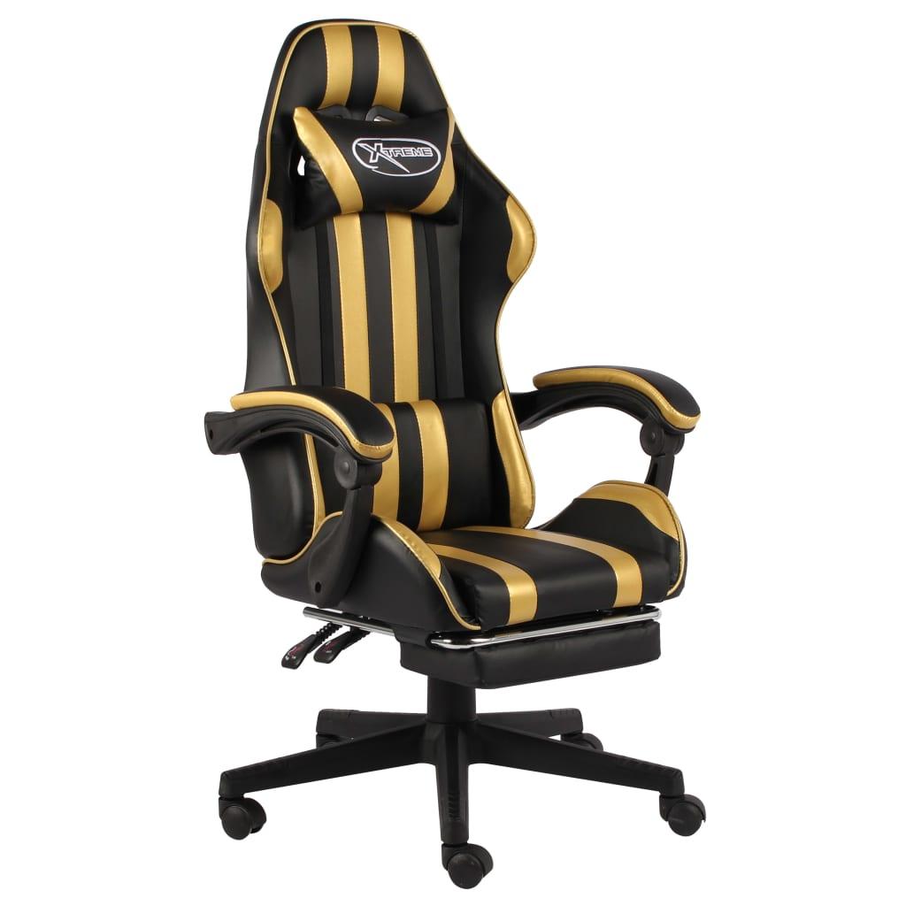 vidaXL Herná stolička s opierkou na nohy čierna a zlatá umelá koža