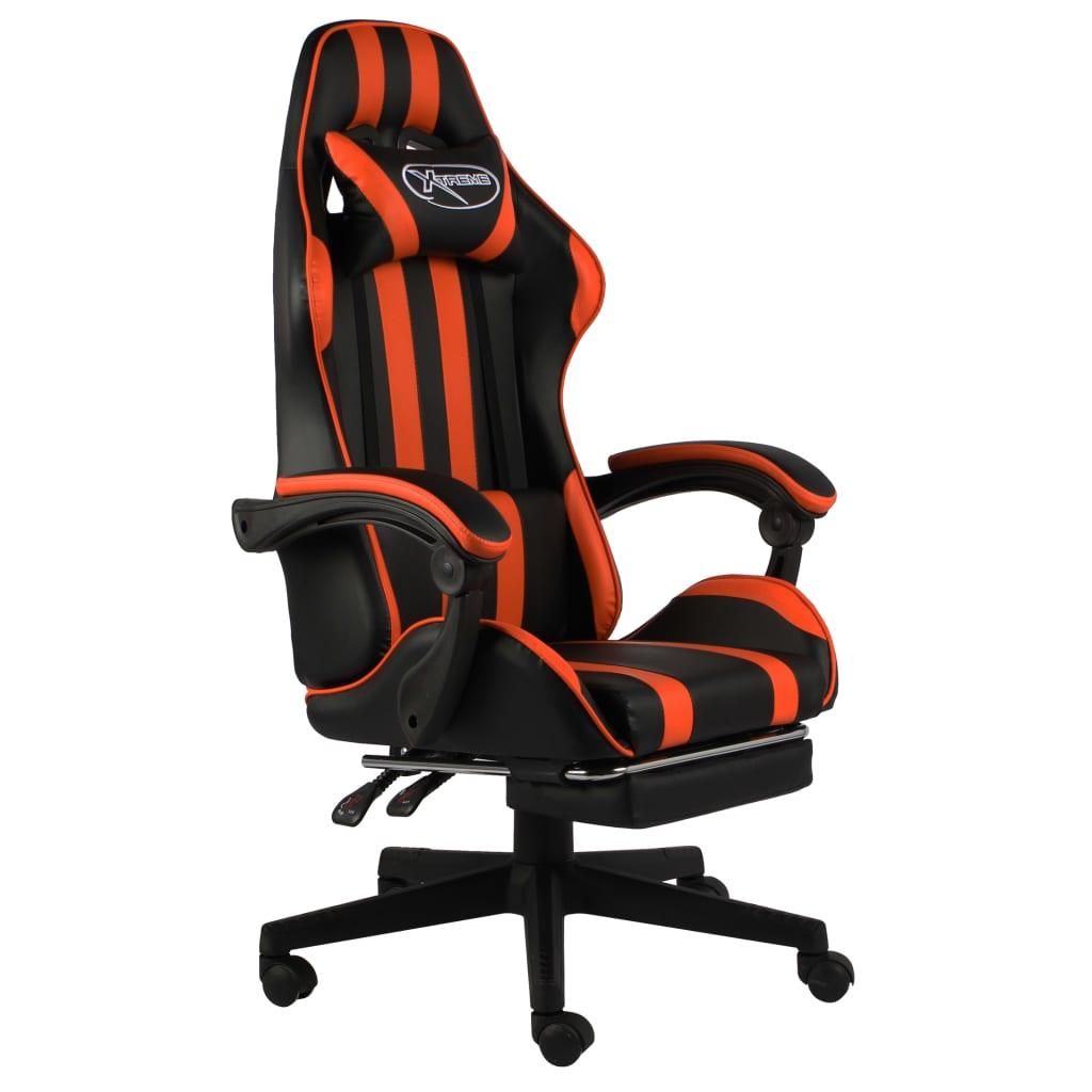 vidaXL Herná stolička s opierkou na nohy čierna a oranžová umelá koža