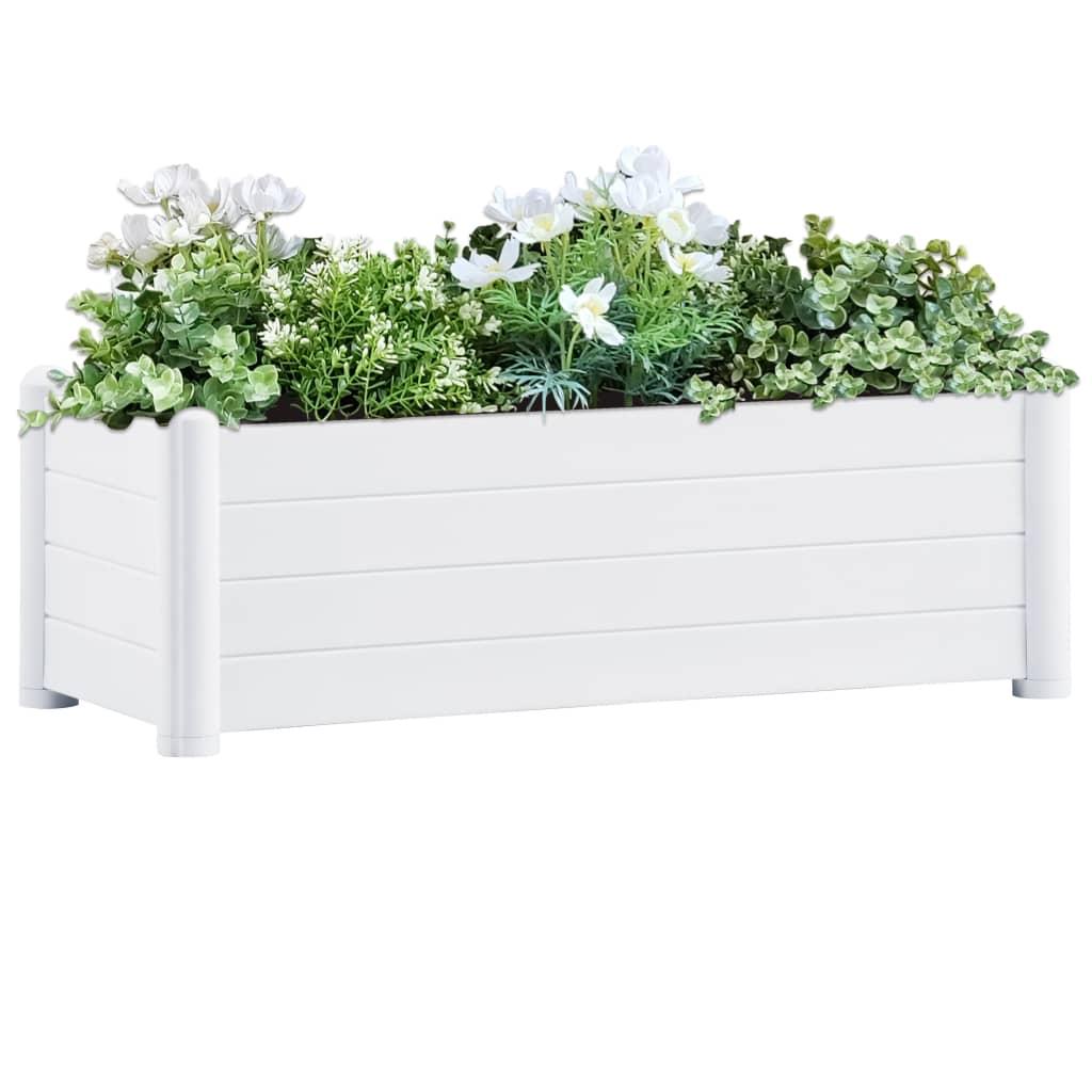vidaXL Vyvýšený záhradný záhon PP biely 100x43x35 cm