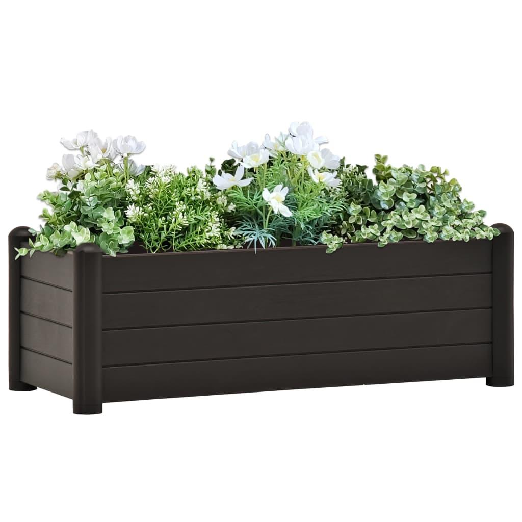 vidaXL Vyvýšený záhradný záhon PP antracitový 100x43x35 cm