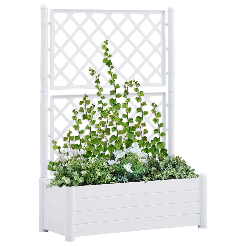 vidaXL Záhradný kvetináč s mriežkou 100x43x142 cm PP biely