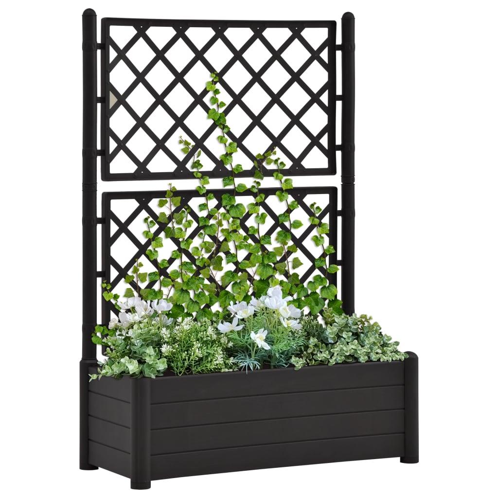 vidaXL Záhradný kvetináč s mriežkou 100x43x142 cm PP antracitový