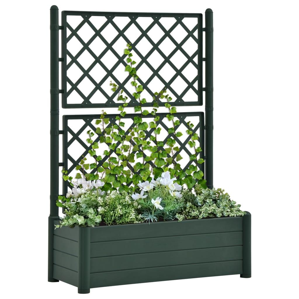 vidaXL Záhradný kvetináč s mriežkou 100x43x142 cm PP zelený