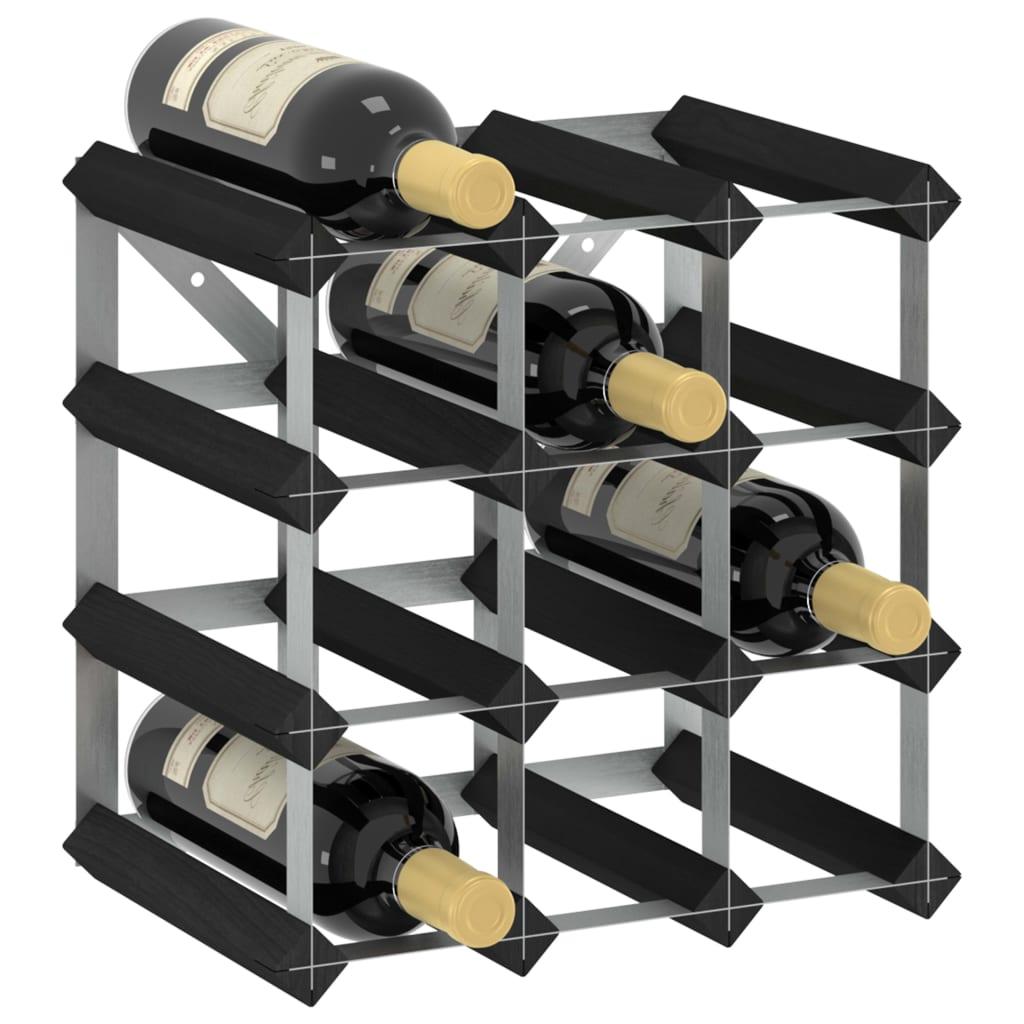 vidaXL Stojan na víno na 12 fliaš čierny masívne borovicové drevo