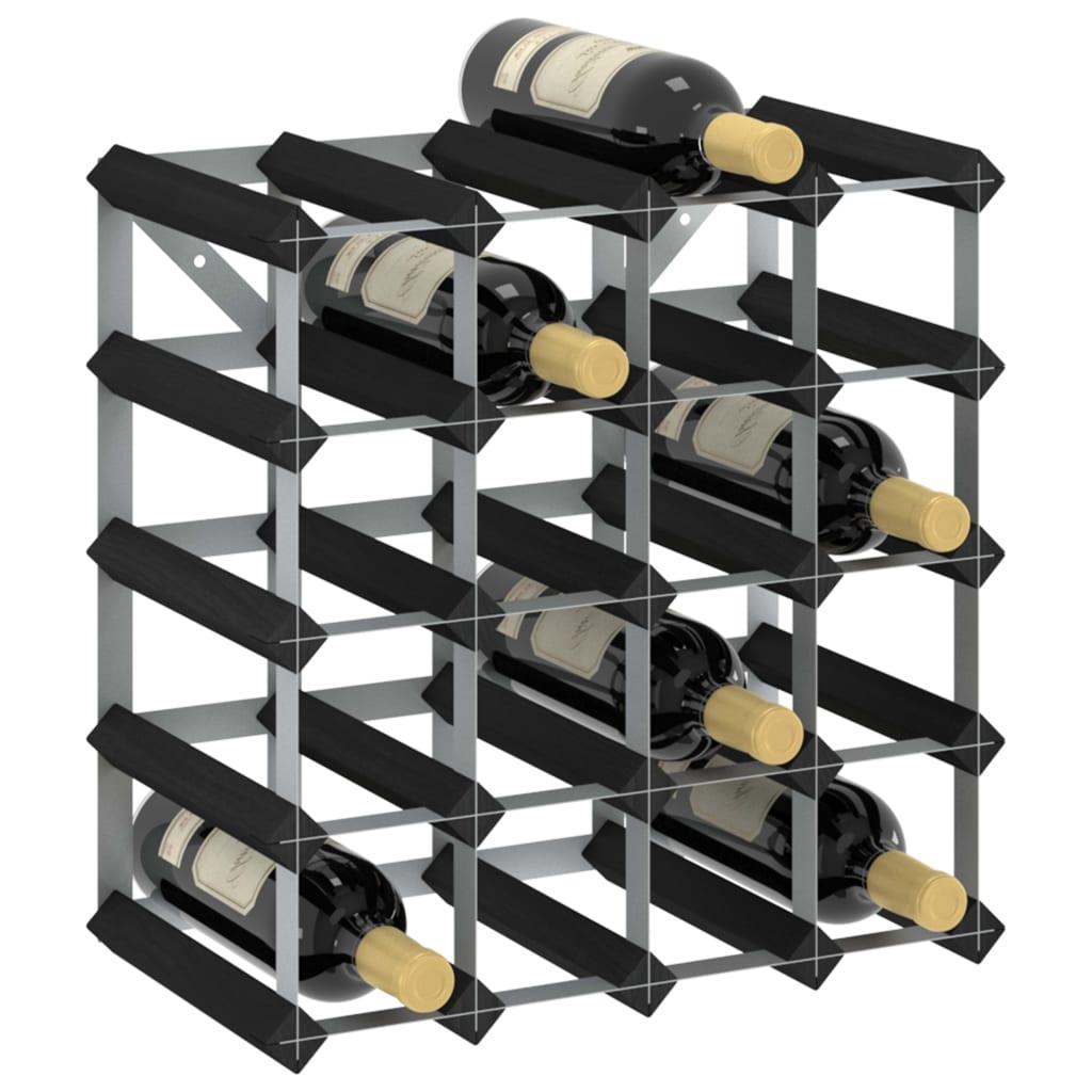 vidaXL Stojan na víno na 20 fliaš čierny masívne borovicové drevo