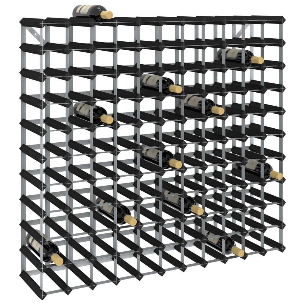 vidaXL Stojan na víno na 120 fliaš čierny masívne borovicové drevo